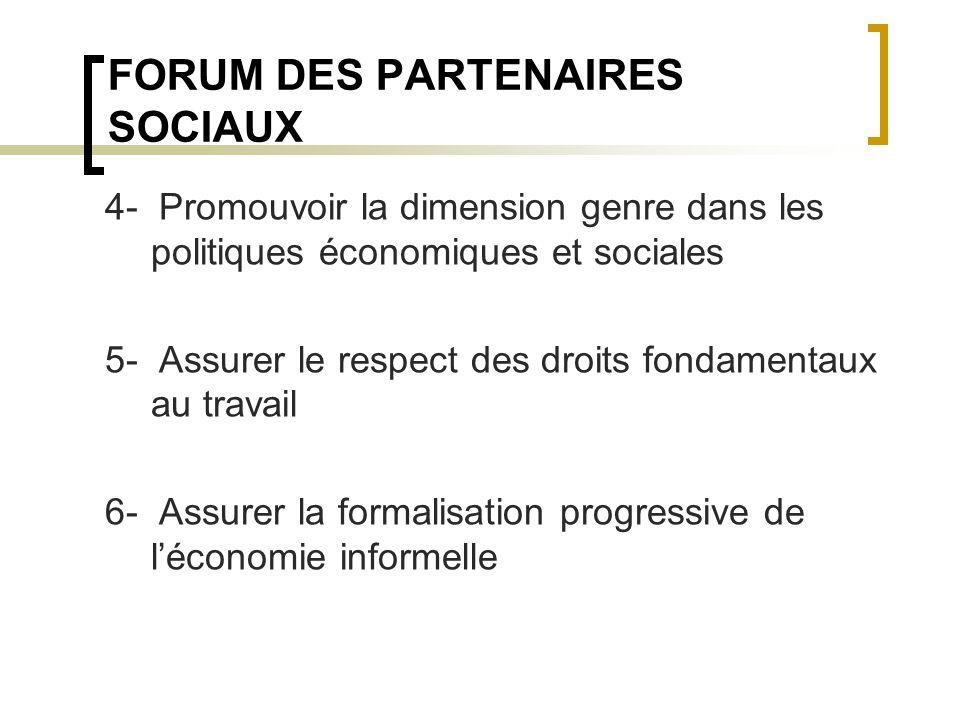 FORUM DES PARTENAIRES SOCIAUX 4- Promouvoir la dimension genre dans les politiques économiques et sociales 5- Assurer le respect des droits fondamentaux au travail 6- Assurer la formalisation progressive de léconomie informelle
