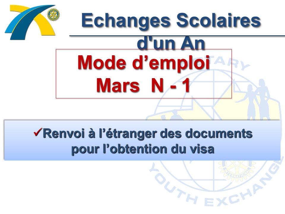 Echanges Scolaires d un An Mode demploi Mars N - 1 Renvoi à létranger des documents pour lobtention du visa Renvoi à létranger des documents pour lobtention du visa