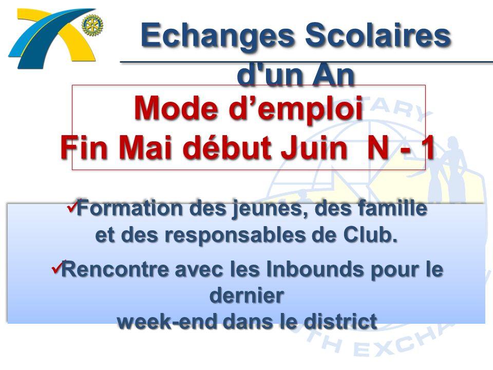Echanges Scolaires d un An Mode demploi Fin Mai début Juin N - 1 Formation des jeunes, des famille et des responsables de Club.