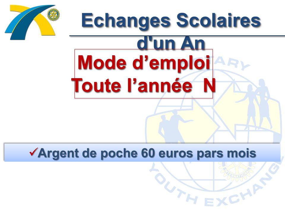 Echanges Scolaires d un An Mode demploi Toute lannée N Argent de poche 60 euros pars mois Argent de poche 60 euros pars mois
