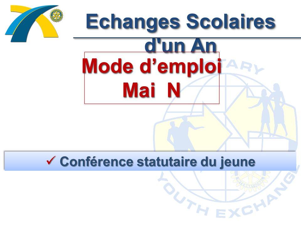 Echanges Scolaires d un An Mode demploi Mai N Conférence statutaire du jeune Conférence statutaire du jeune