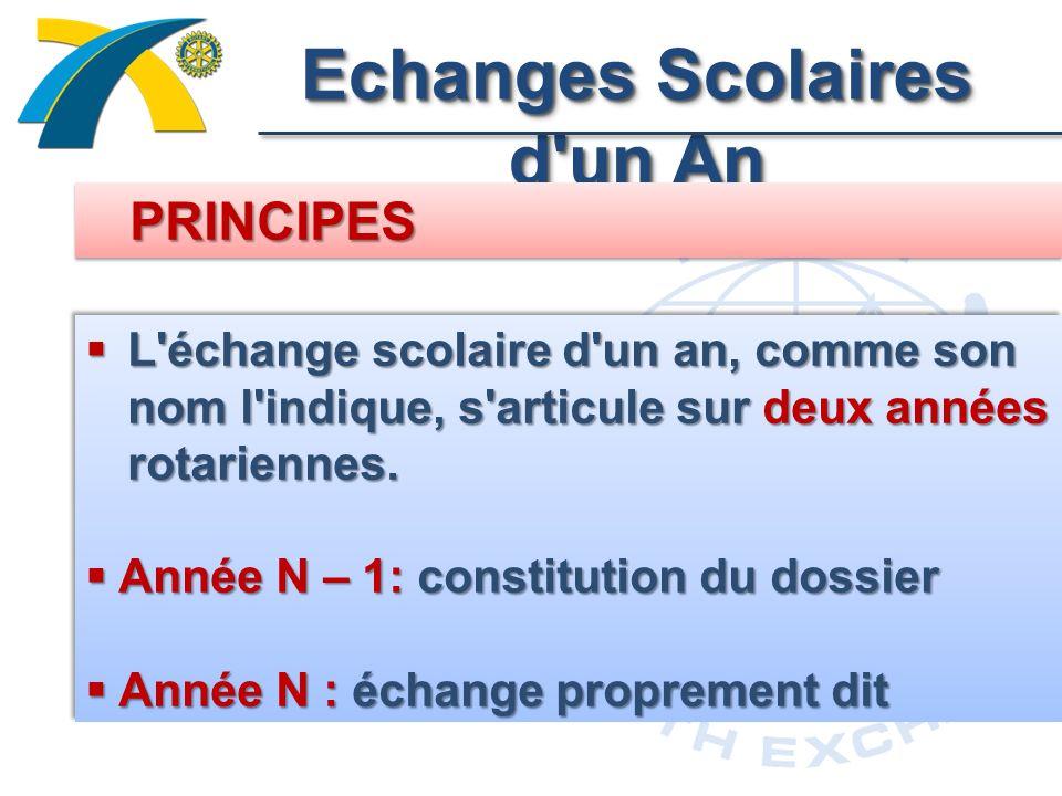 Echanges Scolaires d un An L échange scolaire d un an, comme son nom l indique, s articule sur deux années rotariennes.