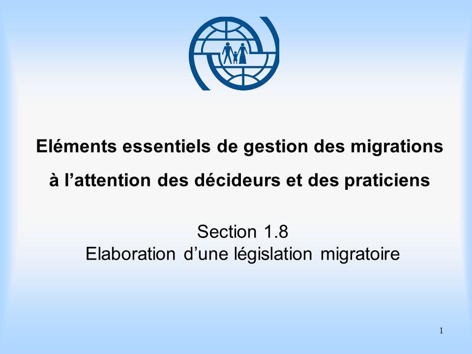 1 Eléments essentiels de gestion des migrations à lattention des décideurs et des praticiens Section 1.8 Elaboration dune législation migratoire