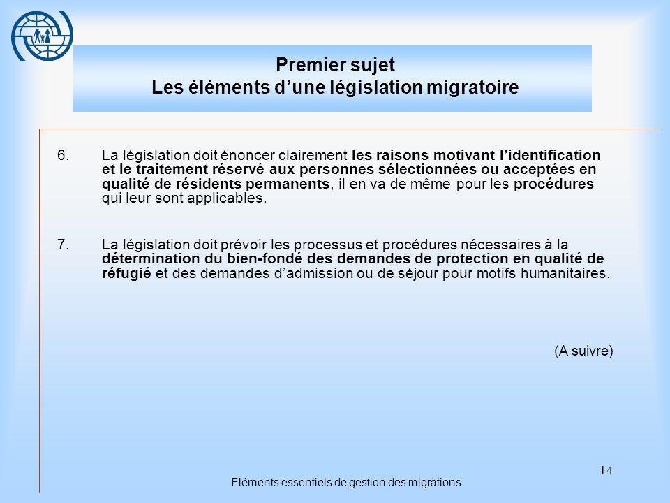 14 Eléments essentiels de gestion des migrations Premier sujet Les éléments dune législation migratoire 6.La législation doit énoncer clairement les raisons motivant lidentification et le traitement réservé aux personnes sélectionnées ou acceptées en qualité de résidents permanents, il en va de même pour les procédures qui leur sont applicables.