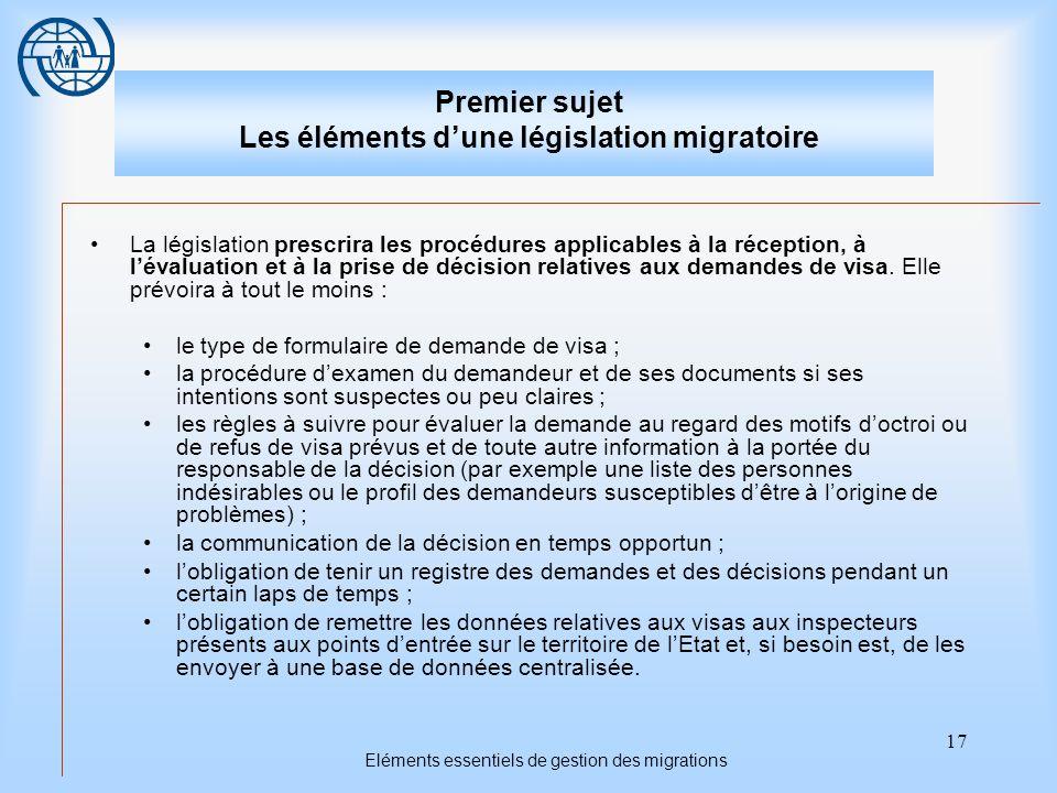 17 Eléments essentiels de gestion des migrations Premier sujet Les éléments dune législation migratoire La législation prescrira les procédures applicables à la réception, à lévaluation et à la prise de décision relatives aux demandes de visa.