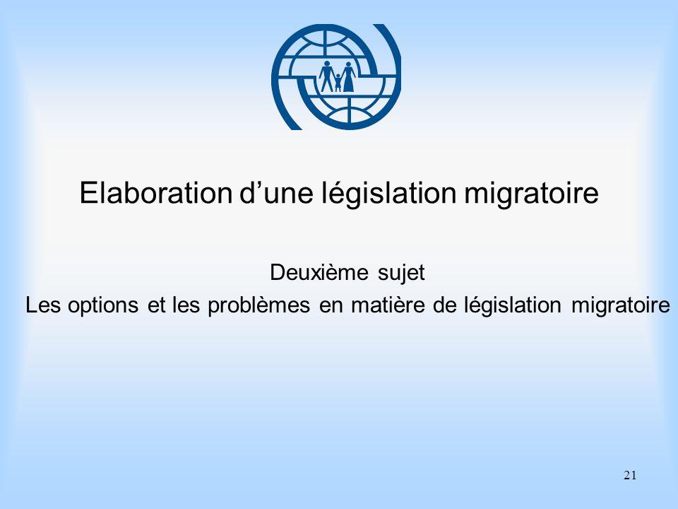 21 Elaboration dune législation migratoire Deuxième sujet Les options et les problèmes en matière de législation migratoire