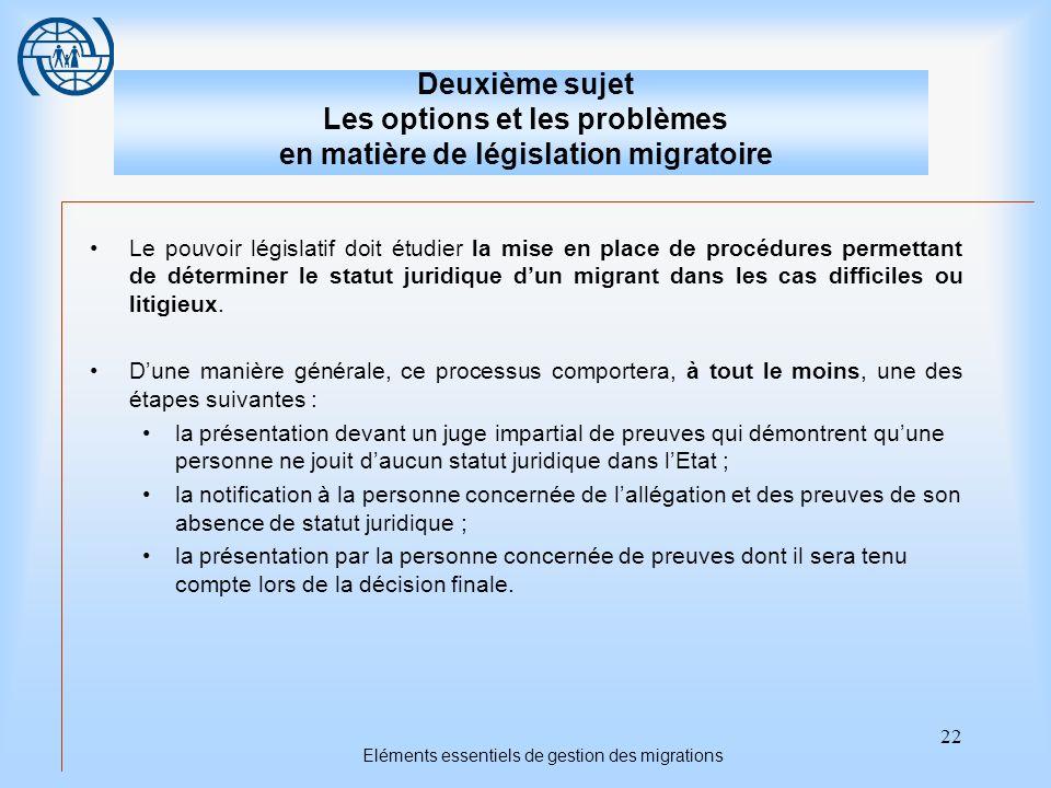 22 Eléments essentiels de gestion des migrations Deuxième sujet Les options et les problèmes en matière de législation migratoire Le pouvoir législatif doit étudier la mise en place de procédures permettant de déterminer le statut juridique dun migrant dans les cas difficiles ou litigieux.