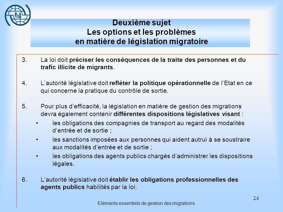 24 Eléments essentiels de gestion des migrations Deuxième sujet Les options et les problèmes en matière de législation migratoire 3.La loi doit préciser les conséquences de la traite des personnes et du trafic illicite de migrants.