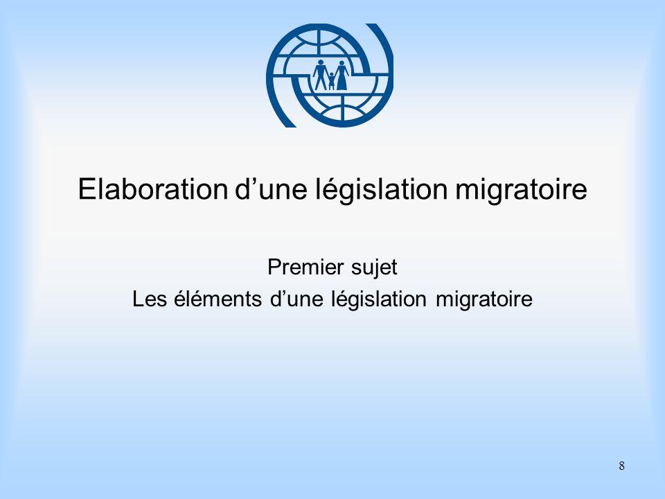 8 Elaboration dune législation migratoire Premier sujet Les éléments dune législation migratoire