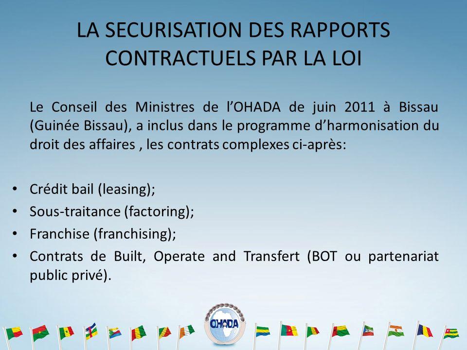LA SECURISATION DES RAPPORTS CONTRACTUELS PAR LA LOI Le Conseil des Ministres de lOHADA de juin 2011 à Bissau (Guinée Bissau), a inclus dans le progra