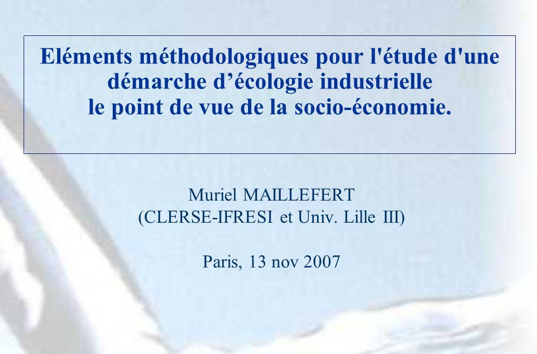Eléments méthodologiques pour l étude d une démarche décologie industrielle le point de vue de la socio-économie.