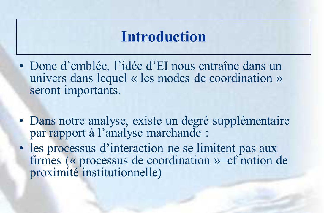 Introduction Donc demblée, lidée dEI nous entraîne dans un univers dans lequel « les modes de coordination » seront importants.