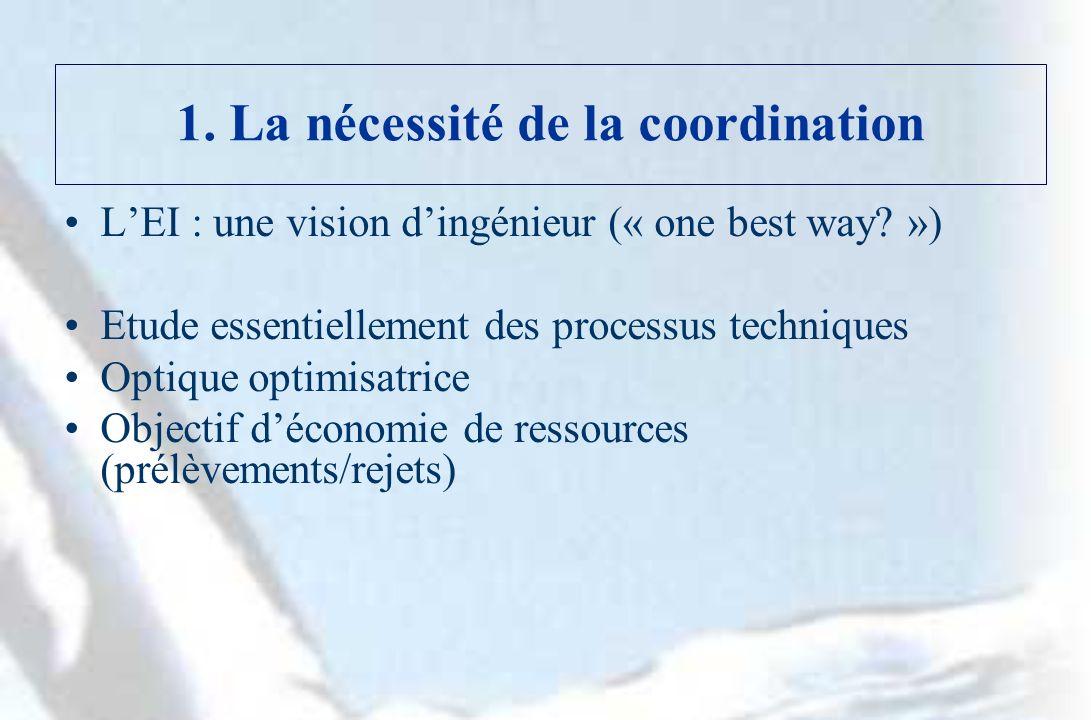 1. La nécessité de la coordination LEI : une vision dingénieur (« one best way.
