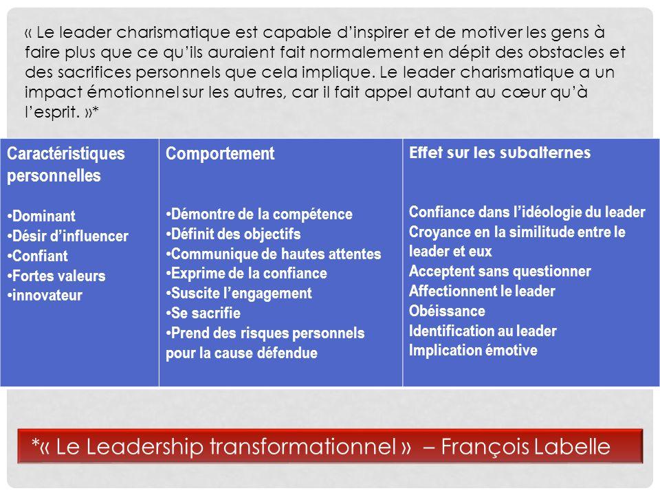 Le processus de leadership transformationnel est plus englobant.