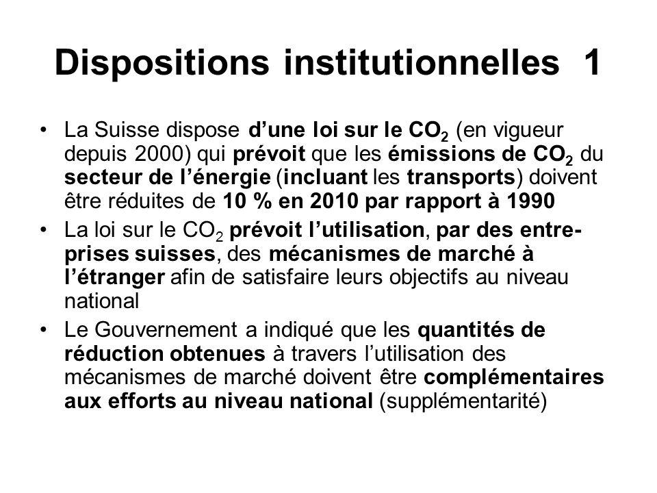 Dispositions institutionnelles 1 La Suisse dispose dune loi sur le CO 2 (en vigueur depuis 2000) qui prévoit que les émissions de CO 2 du secteur de lénergie (incluant les transports) doivent être réduites de 10 % en 2010 par rapport à 1990 La loi sur le CO 2 prévoit lutilisation, par des entre- prises suisses, des mécanismes de marché à létranger afin de satisfaire leurs objectifs au niveau national Le Gouvernement a indiqué que les quantités de réduction obtenues à travers lutilisation des mécanismes de marché doivent être complémentaires aux efforts au niveau national (supplémentarité)