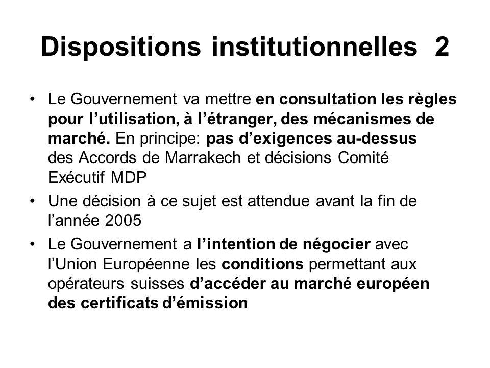 Dispositions institutionnelles 2 Le Gouvernement va mettre en consultation les règles pour lutilisation, à létranger, des mécanismes de marché.