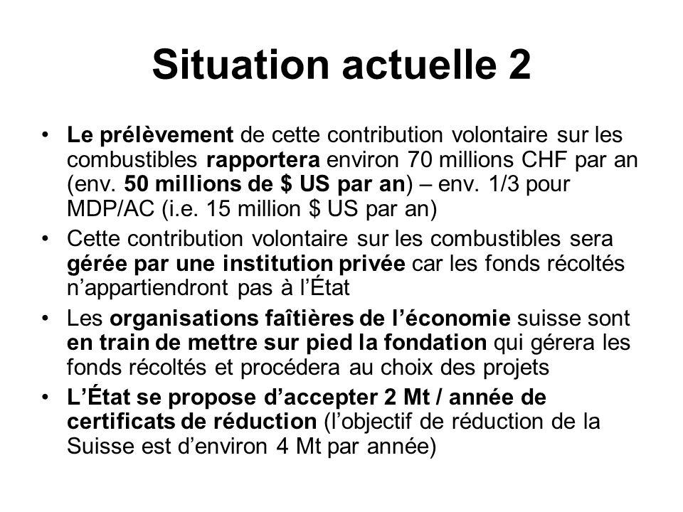 Situation actuelle 2 Le prélèvement de cette contribution volontaire sur les combustibles rapportera environ 70 millions CHF par an (env.