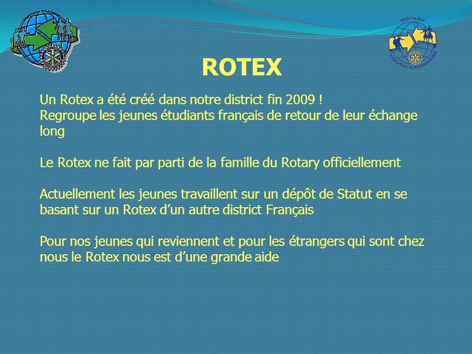 ROTEX Un Rotex a été créé dans notre district fin 2009 ! Regroupe les jeunes étudiants français de retour de leur échange long Le Rotex ne fait par pa