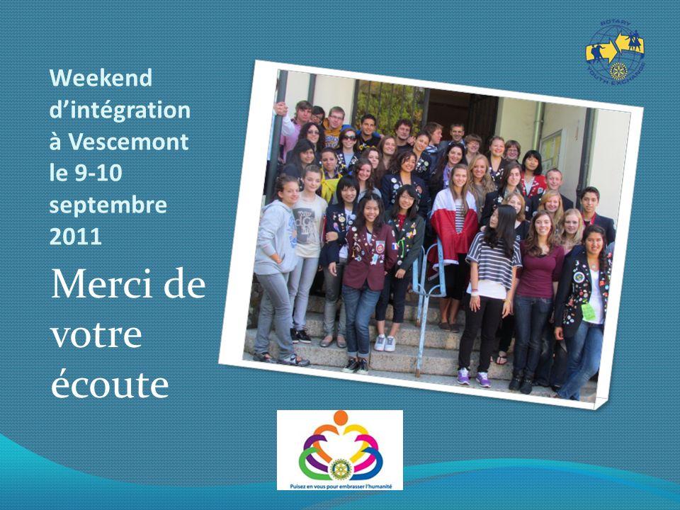 Weekend dintégration à Vescemont le 9-10 septembre 2011 Merci de votre écoute