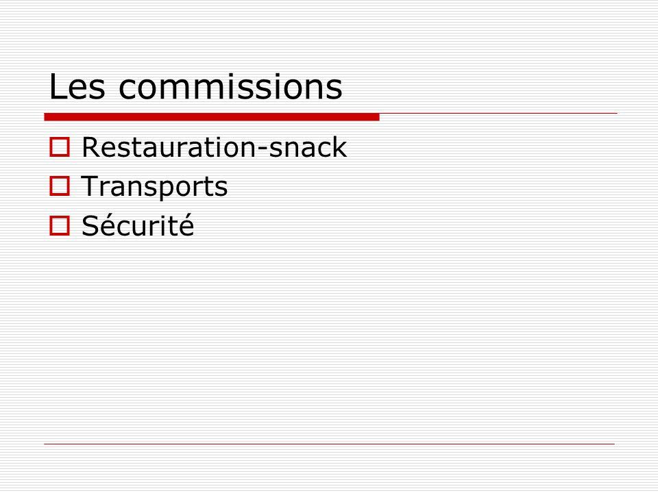 Les commissions Restauration-snack Transports Sécurité