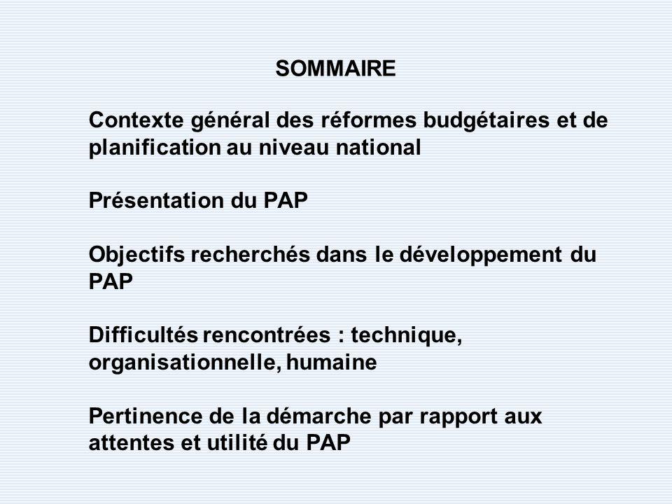 Contexte général des réformes budgétaires et de planification au niveau national Présentation du PAP Objectifs recherchés dans le développement du PAP Difficultés rencontrées : technique, organisationnelle, humaine Pertinence de la démarche par rapport aux attentes et utilité du PAP SOMMAIRE