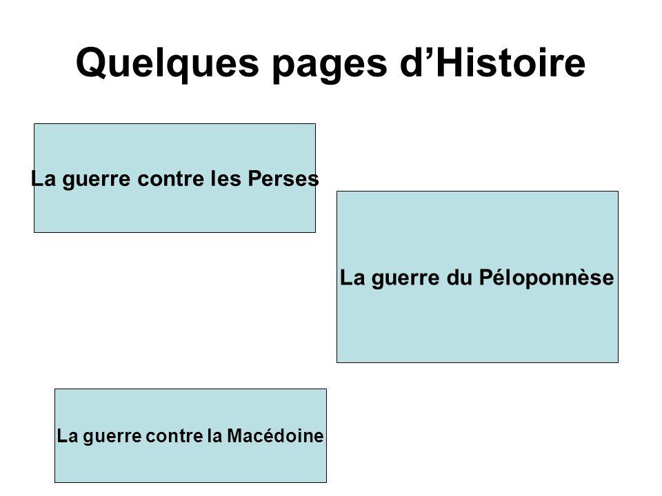 Quelques pages dHistoire La guerre contre les Perses La guerre du Péloponnèse La guerre contre la Macédoine