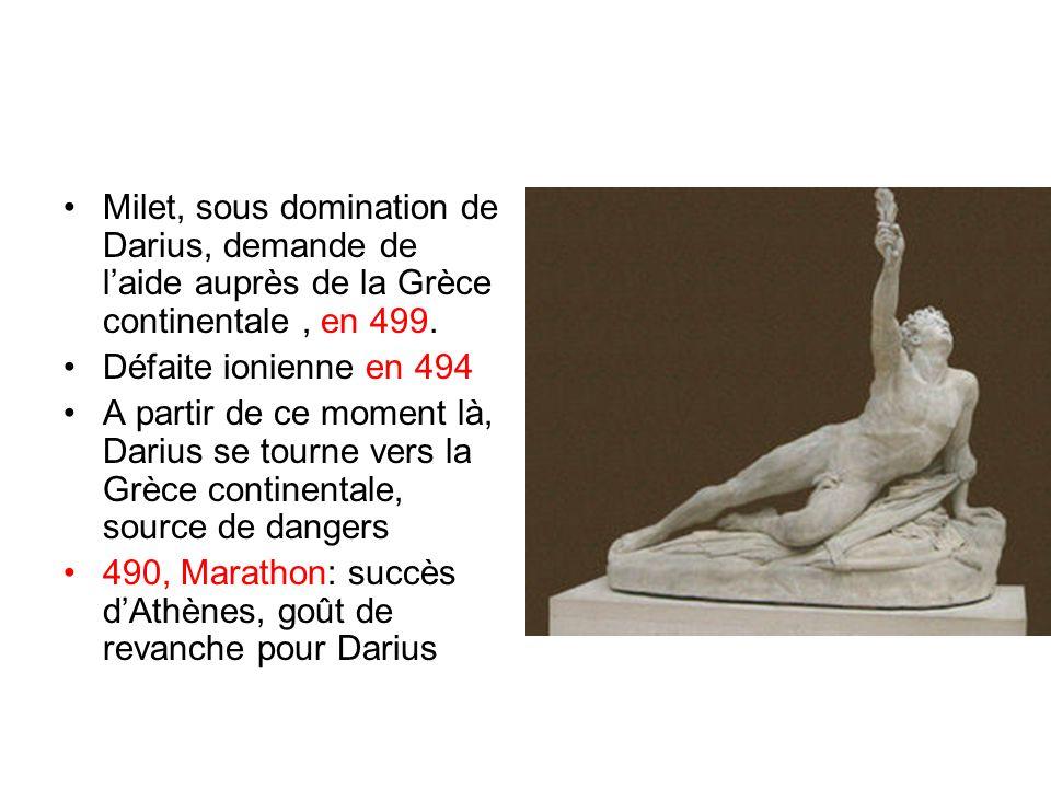 Milet, sous domination de Darius, demande de laide auprès de la Grèce continentale, en 499. Défaite ionienne en 494 A partir de ce moment là, Darius s