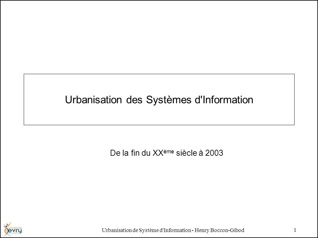 Urbanisation de Système d Information - Henry Boccon-Gibod 2 Rappel dHistoire sur quelques notions Dans les années 1980 –La question de l intéropérabilité des applications émerge dans le domaine de lingénierie industrielle.