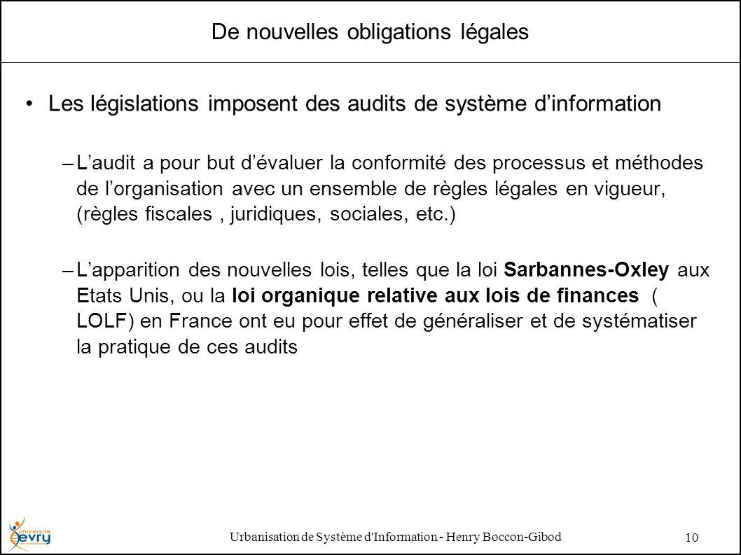 Urbanisation de Système d'Information - Henry Boccon-Gibod 10 De nouvelles obligations légales Les législations imposent des audits de système dinform