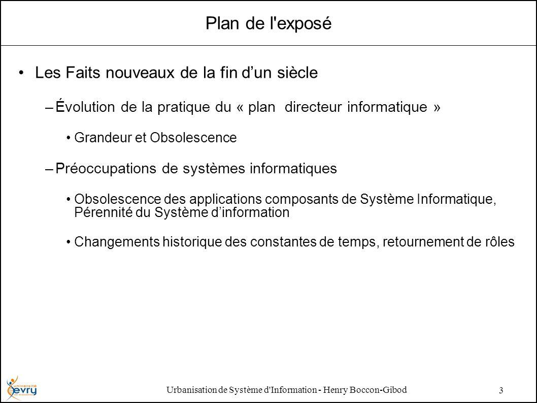 Urbanisation de Système d'Information - Henry Boccon-Gibod 3 Plan de l'exposé Les Faits nouveaux de la fin dun siècle –Évolution de la pratique du « p