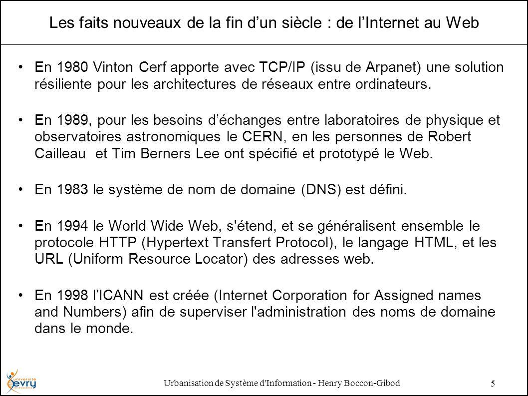 Urbanisation de Système d'Information - Henry Boccon-Gibod 5 Les faits nouveaux de la fin dun siècle : de lInternet au Web En 1980 Vinton Cerf apporte