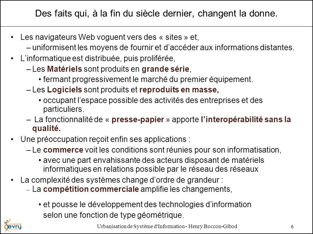 Urbanisation de Système d'Information - Henry Boccon-Gibod 6 Des faits qui, à la fin du siècle dernier, changent la donne. Les navigateurs Web voguent