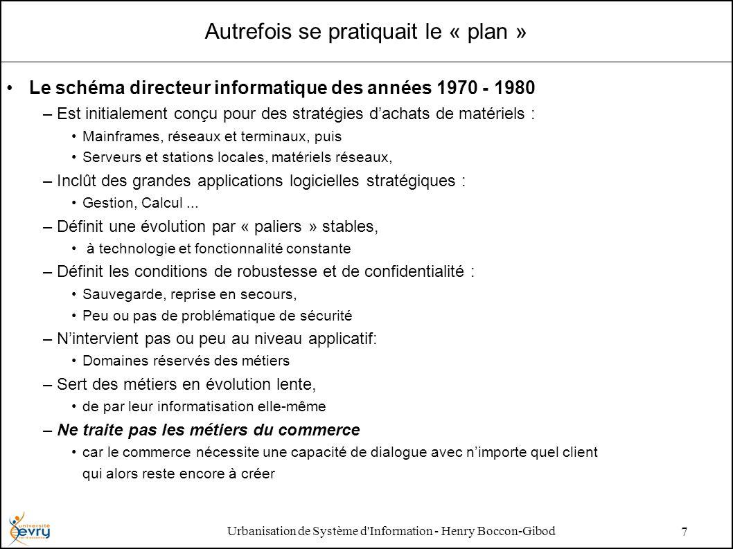 Urbanisation de Système d'Information - Henry Boccon-Gibod 7 Autrefois se pratiquait le « plan » Le schéma directeur informatique des années 1970 - 19