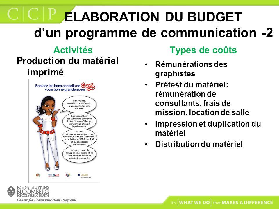 ELABORATION DU BUDGET dun programme de communication -2 Activités Production du matériel imprimé Types de coûts Rémunérations des graphistes Prétest d