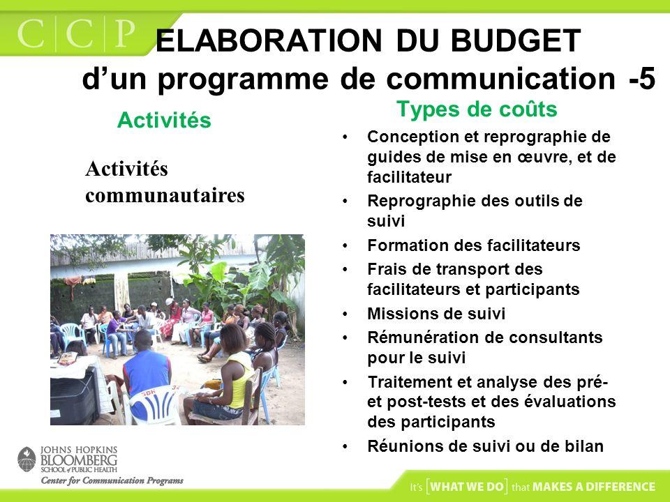 ELABORATION DU BUDGET dun programme de communication -5 Activités Types de coûts Conception et reprographie de guides de mise en œuvre, et de facilita