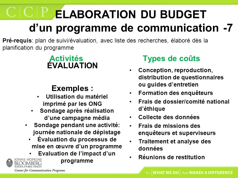 ELABORATION DU BUDGET dun programme de communication -7 Activités ÉVALUATION Exemples : Utilisation du matériel imprimé par les ONG Sondage après réal