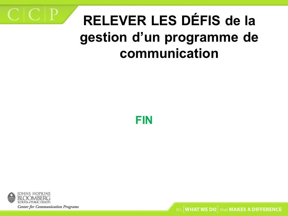 RELEVER LES DÉFIS de la gestion dun programme de communication FIN