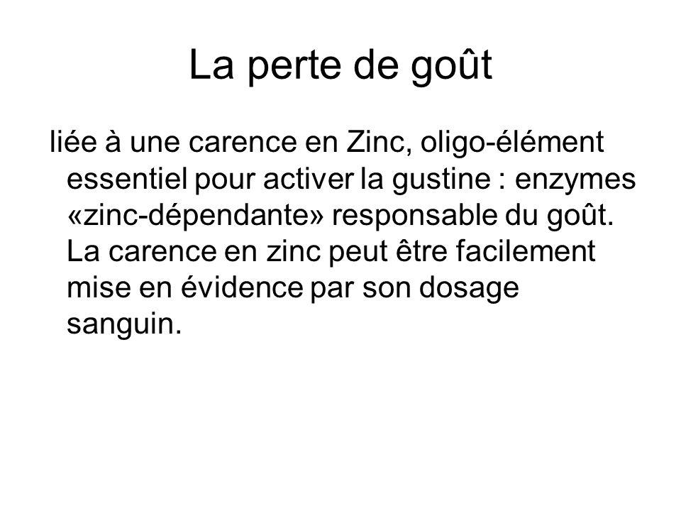 La perte de goût liée à une carence en Zinc, oligo-élément essentiel pour activer la gustine : enzymes «zinc-dépendante» responsable du goût. La caren