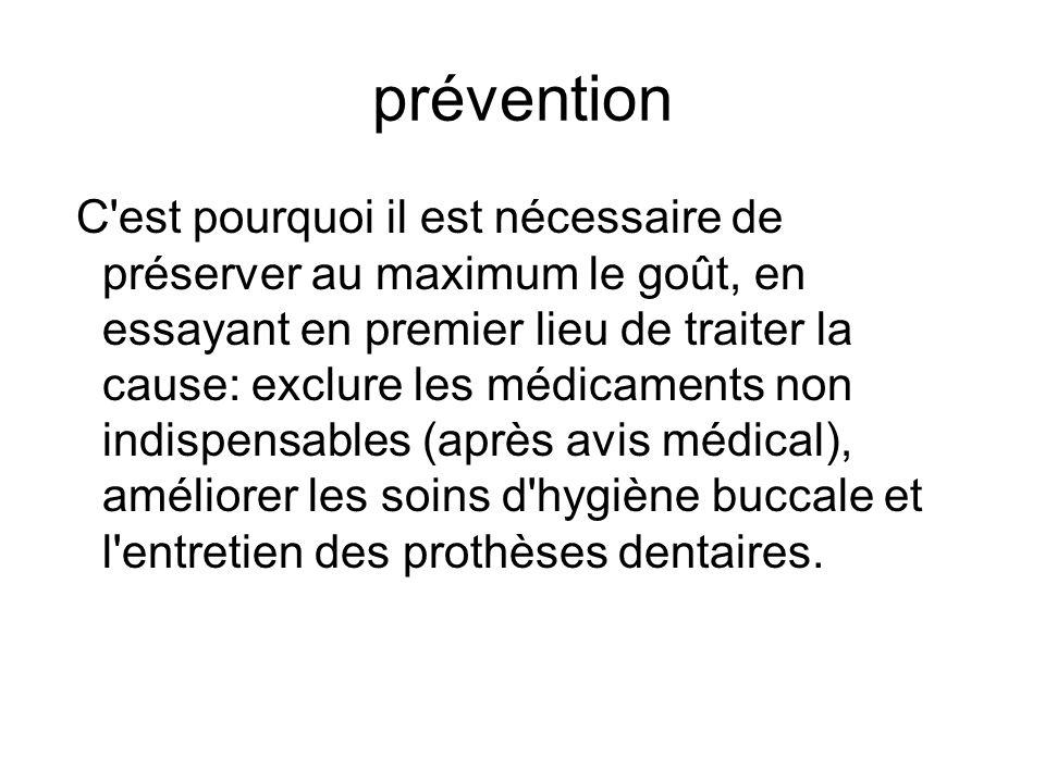prévention C'est pourquoi il est nécessaire de préserver au maximum le goût, en essayant en premier lieu de traiter la cause: exclure les médicaments