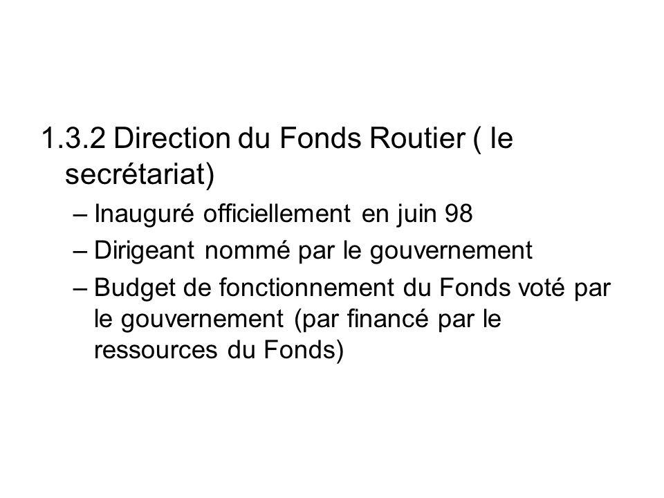 1.3.2 Direction du Fonds Routier ( le secrétariat) –Inauguré officiellement en juin 98 –Dirigeant nommé par le gouvernement –Budget de fonctionnement du Fonds voté par le gouvernement (par financé par le ressources du Fonds)