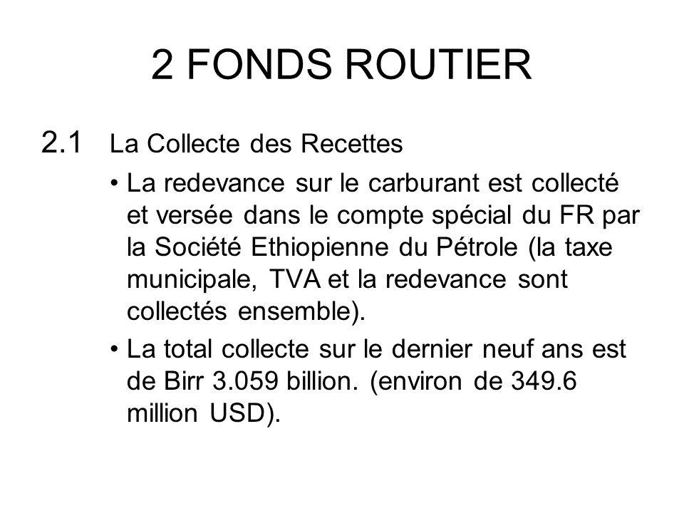 2 FONDS ROUTIER 2.1 La Collecte des Recettes La redevance sur le carburant est collecté et versée dans le compte spécial du FR par la Société Ethiopienne du Pétrole (la taxe municipale, TVA et la redevance sont collectés ensemble).