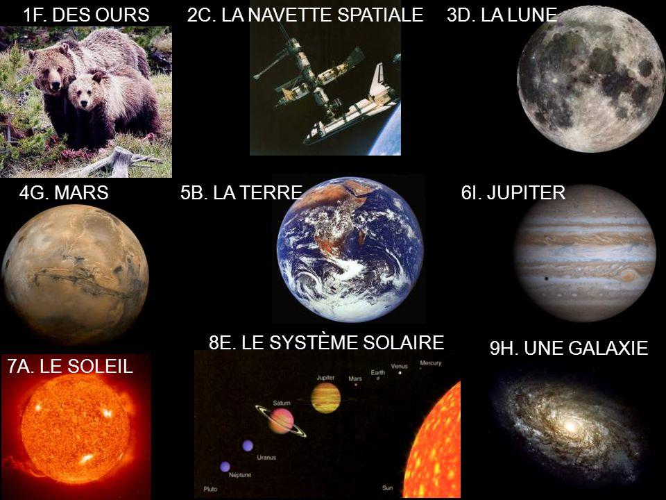 7A. LE SOLEIL 5B. LA TERRE 2C. LA NAVETTE SPATIALE3D.