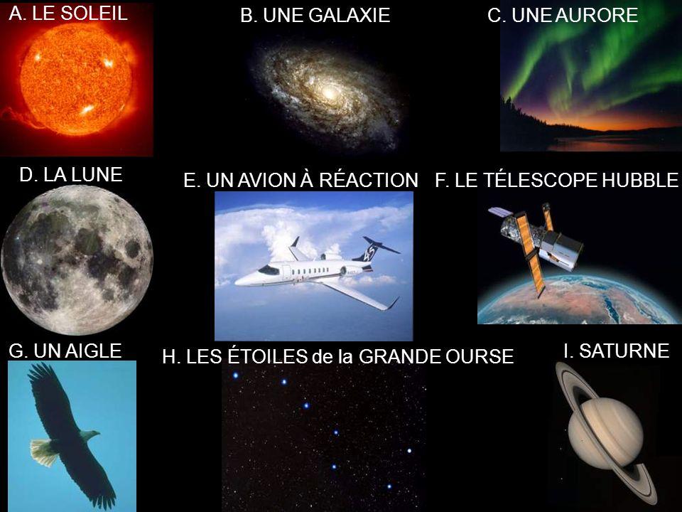 A. LE SOLEIL B. UNE GALAXIEC. UNE AURORE D. LA LUNE E.