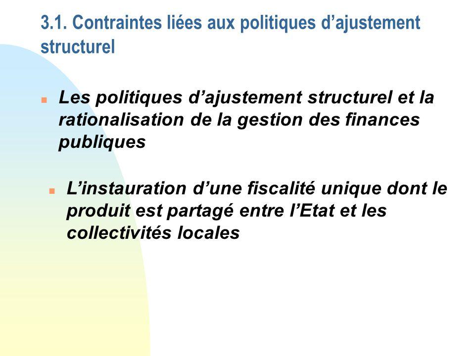 3.1. Contraintes liées aux politiques dajustement structurel n Les politiques dajustement structurel et la rationalisation de la gestion des finances