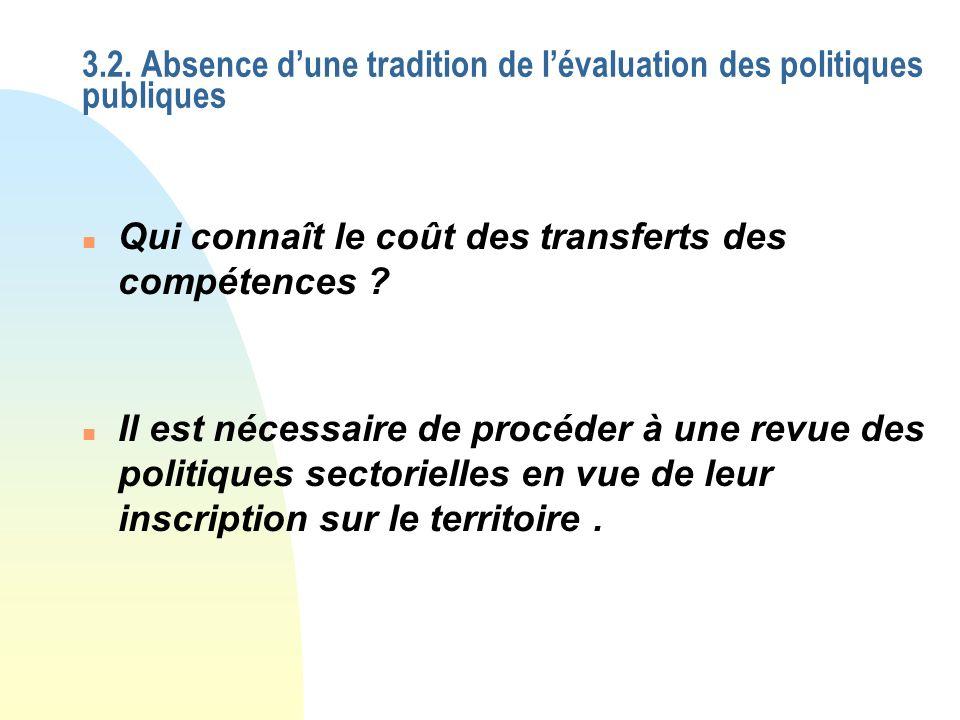 3.2. Absence dune tradition de lévaluation des politiques publiques n Qui connaît le coût des transferts des compétences ? n Il est nécessaire de proc