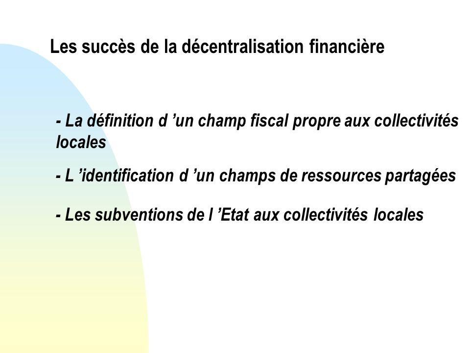 Les succès de la décentralisation financière - La définition d un champ fiscal propre aux collectivités locales - L identification d un champs de ressources partagées - Les subventions de l Etat aux collectivités locales