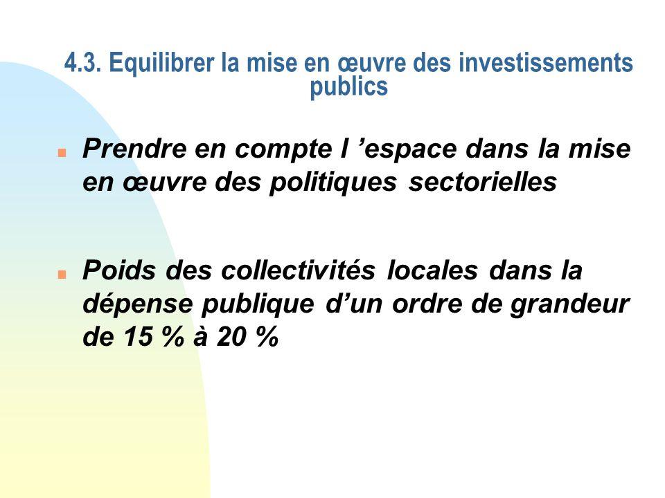 4.3. Equilibrer la mise en œuvre des investissements publics n Poids des collectivités locales dans la dépense publique dun ordre de grandeur de 15 %