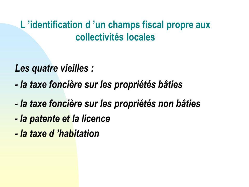 L identification d un champs fiscal propre aux collectivités locales - la taxe foncière sur les propriétés bâties Les quatre vieilles : - la taxe foncière sur les propriétés non bâties - la patente et la licence - la taxe d habitation