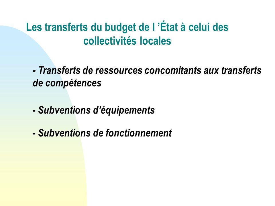 Les transferts du budget de l État à celui des collectivités locales - Transferts de ressources concomitants aux transferts de compétences - Subventions déquipements - Subventions de fonctionnement