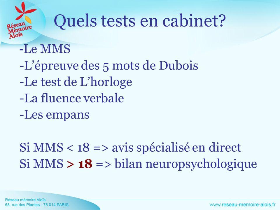 - Le MMS -Lépreuve des 5 mots de Dubois -Le test de Lhorloge -La fluence verbale -Les empans Si MMS avis spécialisé en direct Si MMS > 18 => bilan neu